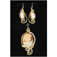 Hand carved Italian Cameo Pendant and Earrings