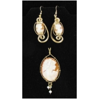 Hand Carved Italian Shell Cameo Earrings and Pendant