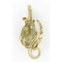 Marquise Cut Ctirine Gemstone Pendant in Gold Filled Wire