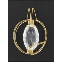 White Topaz Large Oval Pendant