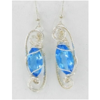 Swiss Blue Marquise Topaz in Stering Silver Wire Wrapped Earringis Settings with French Hooks