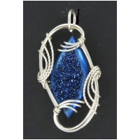 Blue Drusy Stone Pendant in Sterling Silver Setting