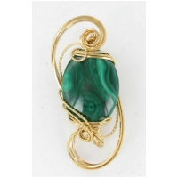 Malachite Stone Pendant in 14kt Rolled Gold Wire