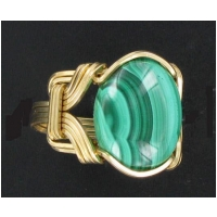 Malachite Ring In Gold Filled