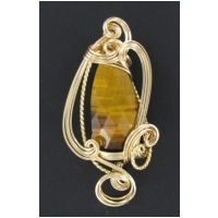 Faceted Tiger Eye Pendant Set in Gold Wire