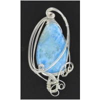 Larimar Pendants in a Sterling Silver Wire Wrapped Setting