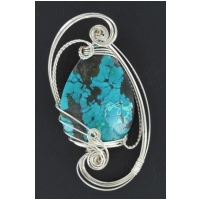 Chinese Turquoise Pendant  in Sterling Silver Setting