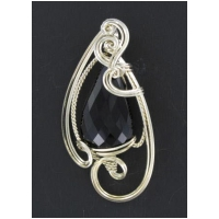 Black Onyx Stone Pendant in Silver Wire Wrapped Setting