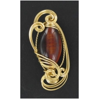 Red Tiger Eye Pendant Set in Wire Wrapping