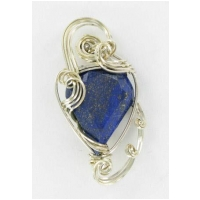 Faceted Lapis Lazuli Pendant Set in Sterling Silver Wire Wrapping