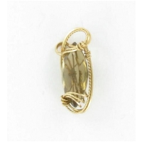 Marquise Citrine Gemstone in Gold Filled Wire Pendant Setting