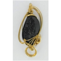 Jumbo Midnight Drussy Gemstone in Wire Wrapped Gold Filled Pendant Setting