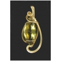 Green Gold Citrine Pendant in a One of Kind Designer Gold Filled Wire Setting