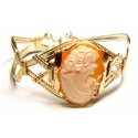 Italian Hand Carved Shell Cameo Bracelet in a Gold Wire Setting