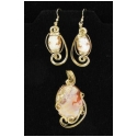 Hand carved Italian Shell Cameo Pendant with Earrings