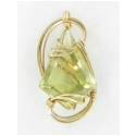 Unusual Cut Citrine Pendant in Gold Filled Wire Wrapped Setting