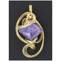 Diamond Shaped Charoite Gemstone Pendant