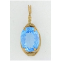 Swiss Blue Topaz  Oval Pendant