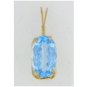 Medium Blue Large Oval Topaz Pendant
