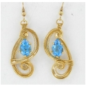 Blue Topaz Pear Gemstones in Gold Filled Wire Wrapped Earring Settings with French Hooks