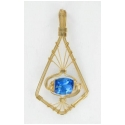 London Blue Gemstone in a Wire Wrapped Fancy Pendant