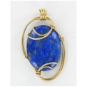 Lapis Lazuli Pendant Set in Gold Wire Wrapping