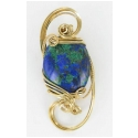 Azurite Stone Pendant in 14kt Rolled Gold Wire
