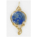 Denim Lapis Lazuli Pendant in 14kt Rolled Gold Wire