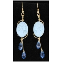 Hand Carved Cameo Turquoise Earrings with Blue Swarovski Crystal in Gold Wire Wrapped Setting