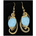 Carved Cameo Turquoise Earrings in Gold Wire Wrapped Setting