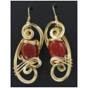Hand Crafted Carnelian Earrings Set in Gold Wire Wrapping