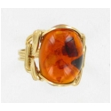 Oval Amber Gemstone Set in Gold Ring