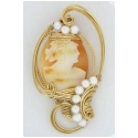 Antique Handcarved Cameo Pendant with Pearls