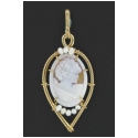 Hand-carved Italian Shell Cameo Pendant with Pearl Accents
