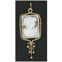 "Jumbo Rectangular Cameo 2x4"" with Pink Pearl Accents"