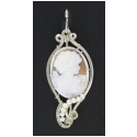 Large Hand-Carved Italian Shell Cameo Wrapped in Sterling Silver