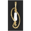 Stick Pearl handcrafted Pendant  in 14 kt Rolled Gold Wire