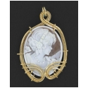 Hand Carved Italian Shell Cameo Pendant