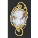 Handcrafted 14kt Rolled Gold wire wrapped Hand Carved Italian Cameo Pendant