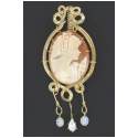 Intricately Detailed Hand Carved Cameo Pendant with CZ Accents