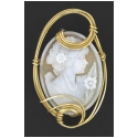 Large Handcarved Cameo Brooch Wrapped in 14kt  Rolled Gold Wire
