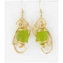 Olivine Jade Earrings Set in 14kt Rolled Gold Wire