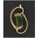Tourmaline Pendant in Gold Wire Wrapped Setting