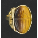 Carved Tiger Eye Egyptian Scarab Ring Set in Gold Wire