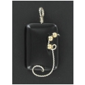 Black Onyx Pendant in Silver with gold filled accent