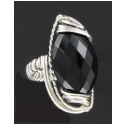Black Onyx Ring - Faceted - in Sterling