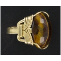 Tiger Eye Ring with Faceted Gemstone in Gold Wire Setting