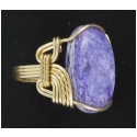 Purple Charoite Ring in 14 kt rolled gold setting