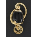Black Onyx Stone Pendant in Gold Wire Wrapped Setting