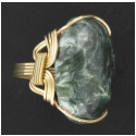 Serphanite Gemstone Ring in 14kt Rolled Gold